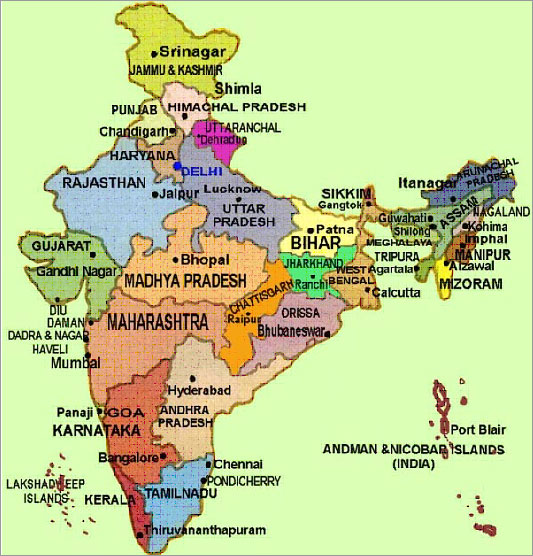 India Tourists Maps,States and Uniion terrirorires,Zones of India