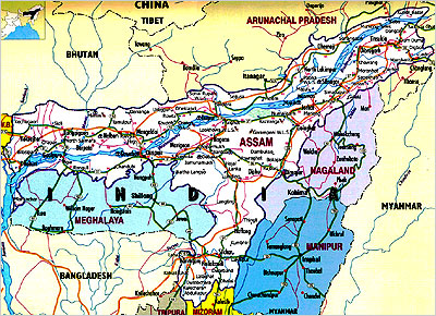 India State Wise Map Assam